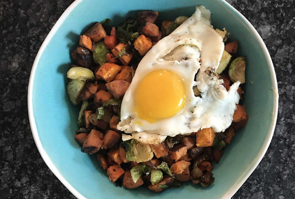 Sweet Potato Skillet with Andouille Chicken Sausage & Brussels Sprouts