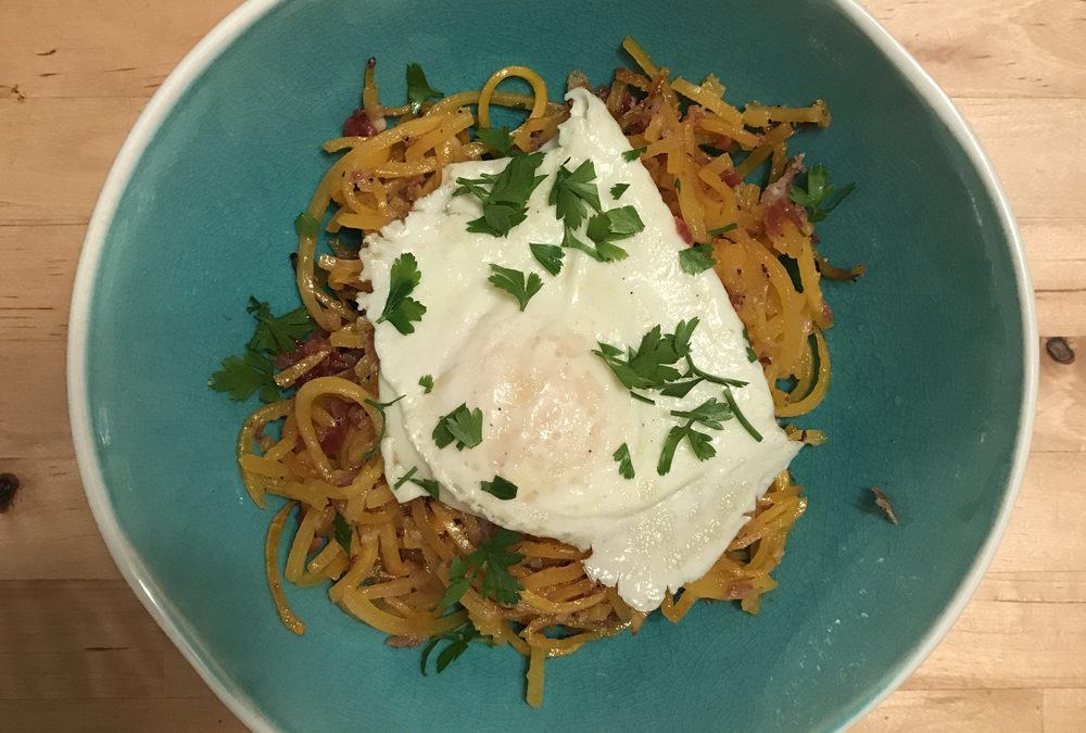 Butternut Squash Spaghetti with Pancetta & Egg